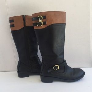 Women's  Black and Brown motorcycle boots. Sz 6.5